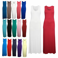 NEW Women's Racer Muscle Back long Jersey Ladies Maxi Dress also in Plus Size