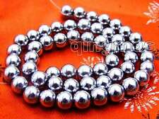"Big 8mm White Super Luster Round High Quality Hematite beads strand 15""-los535"