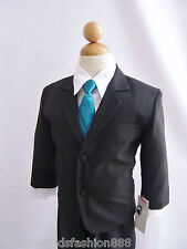Black Formal Suit for boy toddler teen size recital ring bearer wedding party