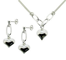 LADIES 925 STERLING SILVER HEART PENDANT NECKLACE & EARRING SET MOTHERS DAY GIFT