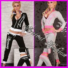 NEW SEXY TWO PIECE full TRACKSUIT SET FOR women ACTIVE WEAR JOGGING GYM WORKOUT