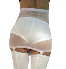 HIGH WAISTED SUSPENDER SKIRT GIRDLE WHITE POWER MESH NET XS S M L XL XXL XXXL