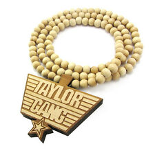 WOODEN WIZ KHALIFA TAYLOR GANG PENDANT PIECE CHAIN BEAD NECKLACE GOOD WOOD STYLE