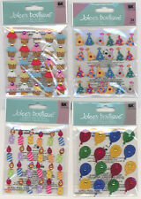 U CHOOSE  Jolee's BALLOON PARTY CANDLE CUPCAKE HAT REPEATS  3D Stickers birthday
