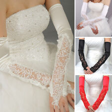 4 Colors Opera Length Fingerless Stretchy Long Satin Lace Bridal Wedding Gloves