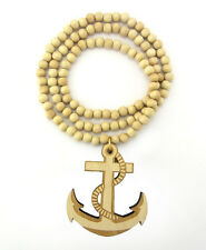 "WOODEN SAILOR ANCHOR HOOK PENDANT PIECE 36"" CHAIN BEAD NECKLACE GOOD WOOD MARINE"