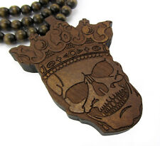 """WOODEN SKULL KING PENDANT PIECE &36"""" CHAIN BEAD NECKLACE GOOD WOOD HIP HOP STYLE"""