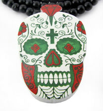 """WOODEN DAY OF THE DEAD SKULL PENDANT PIECE & 36"""" CHAIN NECKLACE GOOD WOOD TATTOO"""