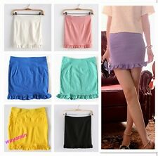 2013 Hot Stylish Girls Candy Color Stretch Slim Scalloped Flouncy Skirt 7 Colors