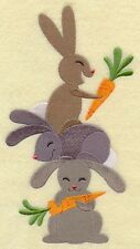 White Bath/Hand/Face Towels Embroidered with  Bunny Lovin' Stack (G5360)