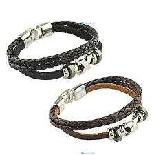 Fashion Korean Style Handmade Unisex Men's Wrap Wrist Braided Leather Bracelets