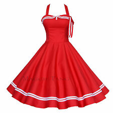 Maggie Tang 50s 60s Nautical Sailor VTG Rockabilly Pinup Party Swing Dress S-515