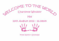 Personalised Welcome To The World New Born Baby Gifts Boy Girl Print