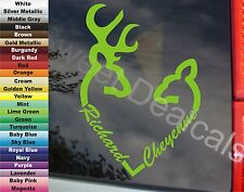 "DEER HUNTER COUPLE HEART BUCK DOE PERSONALIZED 7"" VINYL STICKER DECAL CAR TRUCK"