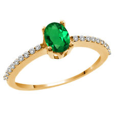 0.90 Ct Oval Green Simulated Emerald White Topaz 14K Yellow Gold Ring