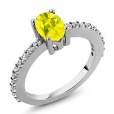 1.25 Ct Oval Canary Mystic Topaz White Created Sapphire 925 Sterling Silver Ring