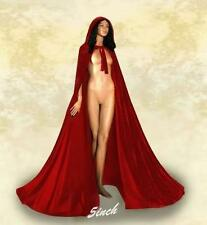 Satin Lined Red Hooded Velvet Cloak Gothic Wicca Robe Medieval Larp Cape   S-XXL