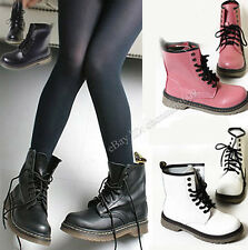 New Women's Lace Up Mid Calf Boots Combat  Punk Ankle Boots Flats Fashion shoes