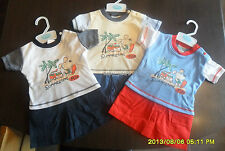 BABY SHORTS AND T-SHIRT SET BOYS SUMMER OUTFIT BEACH HOLIDAY CLOTHING NEW