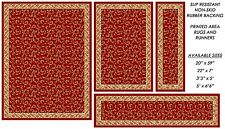 Red Burgundy Non Skid Rubber Back Veronica Area Rugs and Runners 2x7 2x5 3x5 5x7