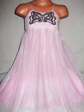 GIRLS LIGHT PINK SEQUIN BUTTERFLY TULLE BRIDESMAID PROM PARTY DRESS
