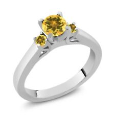 0.59 Ct Round Yellow VS Citrine 925 Sterling Silver Ring