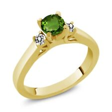 0.63 Ct Green Chrome Diopside White Diamond 925 Yellow Gold Plated Silver Ring