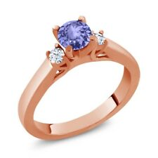 0.62 Ct Round Blue Tanzanite White Topaz 925 Rose Gold Plated Silver Ring