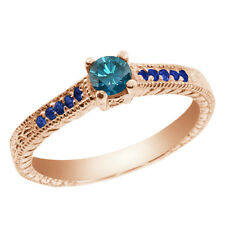 0.36 Ct Round Blue SI1/SI2 Diamond Sapphire and 18K Rose Gold Engagement Ring