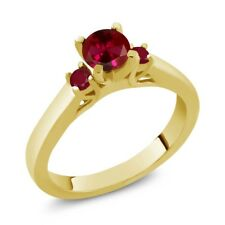 0.84 Ct Round Red Created Ruby Ruby 14K Yellow Gold Ring