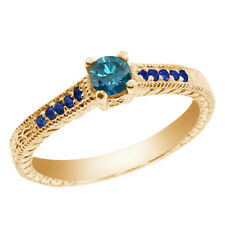 0.36 Ct Round Blue SI1/SI2 Diamond Sapphire and 18K Yellow Gold Engagement Ring