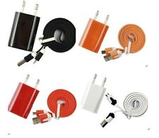 2IN1 EU Wall Charger+ Color Flat Cable For Samsung Galaxy S2 S3 S4 HTC EVO 4G