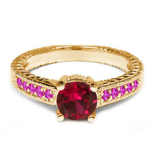 1.18 Ct Round Red Created Ruby Pink Sapphire 925 Yellow Gold Plated Silver Ring