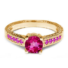 1.18 Ct Round Pink Mystic Topaz Sapphire 925 Yellow Gold Plated Silver Ring