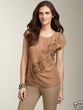 NWT$129 TALBOTS BEADS EMBROIDERY PULLOVER POLY CREPE TOP BLOUSE Sz XS,S,M,L,XL