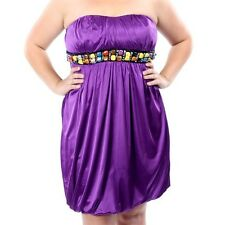 PD15 - XL 1XL TORRID Sexy Strapless Beads Bubble Cocktail Dress Purple XL 1XL