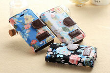 NEW STAND FLOWER JEANS CLOTH LEATHER CASE COVER WALLET FOR APPLE IPHONE 4 4G 4S