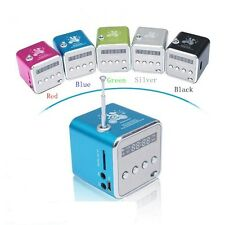 Portable Cube Mini Digital MP3 Player PC Speaker FM Radio Support Micro SD