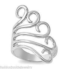 Abstract Peacock Ring - 925 Sterling Silver - Swirl Spiral Fork Ring *NEW*
