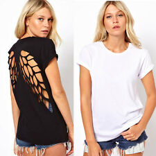 Solid Color T-Shirt Lady Backless Casual Hollow Wing Back Crew Neck Blouse Tops