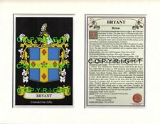 BRYANT Family Coat of Arms Crest + History - Available Mounted or Framed