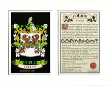 COLLINS Family Coat of Arms Crest + History - Available Mounted or Framed