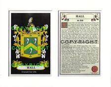 HALL Family Coat of Arms Crest + History - Available Mounted or Framed