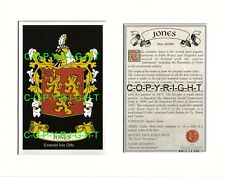 JONES Family Coat of Arms Crest + History - Available Mounted or Framed