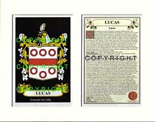 LUCAS Family Coat of Arms Crest + History - Available Mounted or Framed