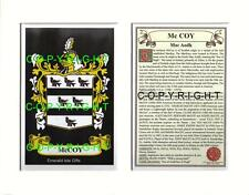 MCCOY Family Coat of Arms Crest + History - Available Mounted or Framed