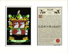 RYAN Family Coat of Arms Crest + History - Available Mounted or Framed