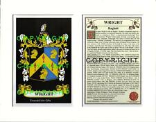 WRIGHT Family Coat of Arms Crest + History - Available Mounted or Framed