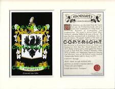 MORIARTY Family Coat of Arms Crest + History - Available Mounted or Framed