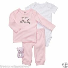 Carter's 4 Piece Outfit With Matching Cloth Baby Rattle ~ New With Tags